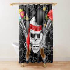 Pirate Skull, Ancient Guns, Flowers and Cannonballs Shower Curtain