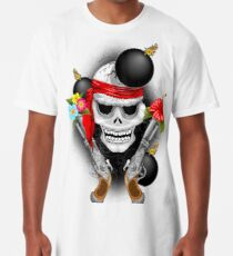 Pirate Skull, Ancient Guns, Flowers and Cannonballs Long T-Shirt