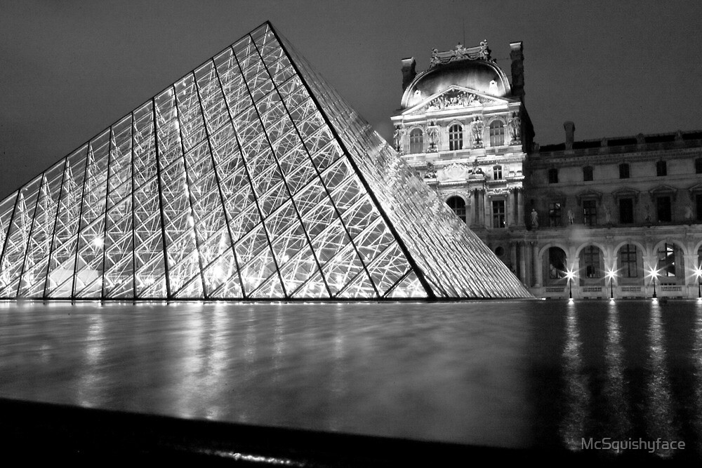 The Louvre at Night, Paris, France by McSquishyface