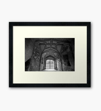 Gate House Interior in Black and White- Donnington Castle Framed Print