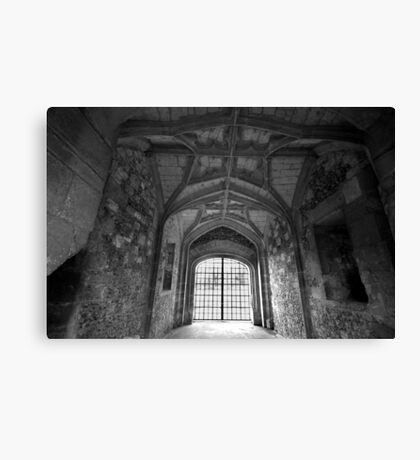 Gate House Interior in Black and White- Donnington Castle Canvas Print