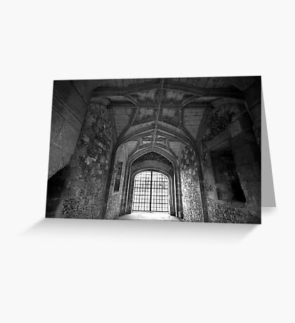 Gate House Interior in Black and White- Donnington Castle Greeting Card