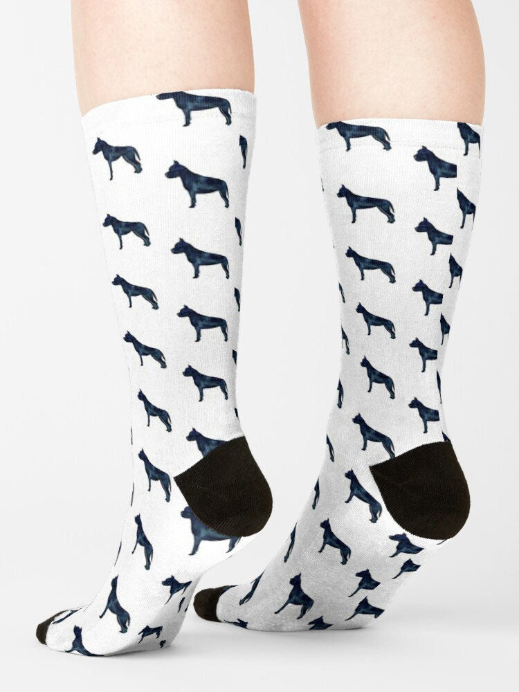 Alternate view of American Staffordshire Bull Terrier Dog Breed Silhouette Black Indigo Blue Watercolor Socks