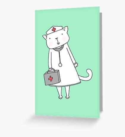 Kitty Cat Nurse Greeting Card