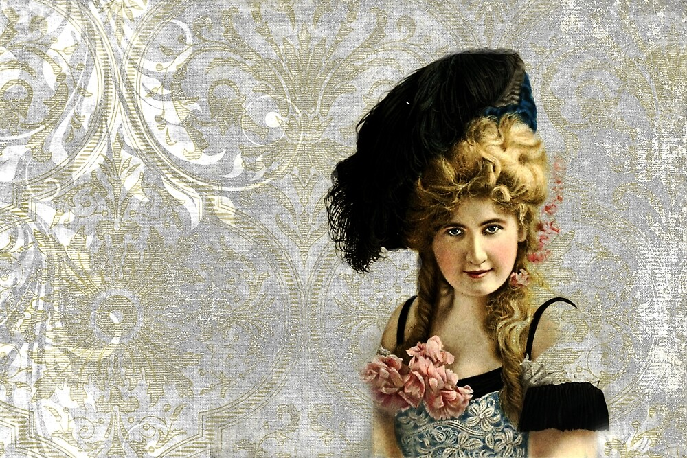 Vintage Photograph - Blonde Woman with Feather Hat on Grey Damask by Peggy Collins