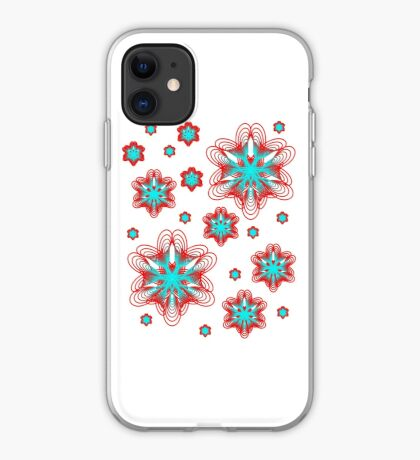 Spirographs with red and blue pattern iPhone Case