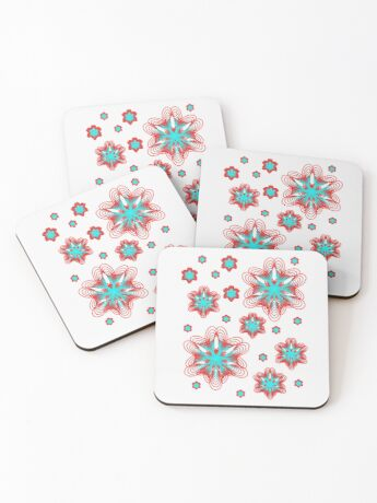 Spirographs with red and blue pattern Coasters