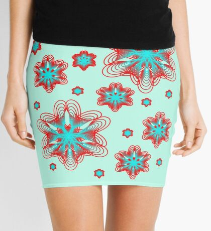 Spirographs with red and blue pattern Mini Skirt