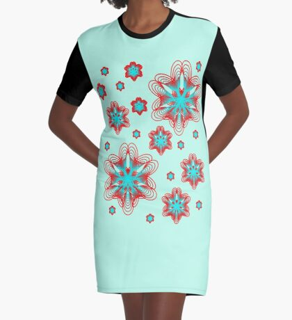 Spirographs with red and blue pattern Graphic T-Shirt Dress