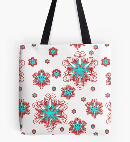 Spirographs with red and blue pattern Tote Bag