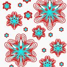 Spirographs with red and blue pattern by Shapes-Mania