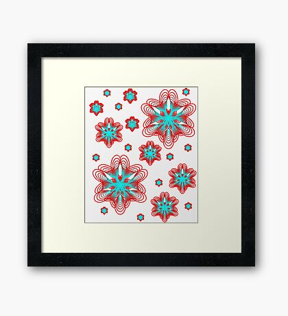 Spirographs with red and blue pattern Framed Print