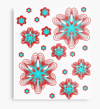 Spirographs with red and blue pattern Metal Print