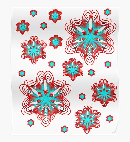 Spirographs with red and blue pattern Poster