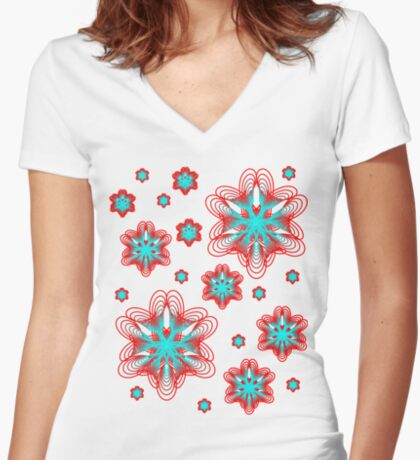 Spirographs with red and blue pattern Fitted V-Neck T-Shirt