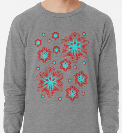 Spirographs with red and blue pattern Lightweight Sweatshirt