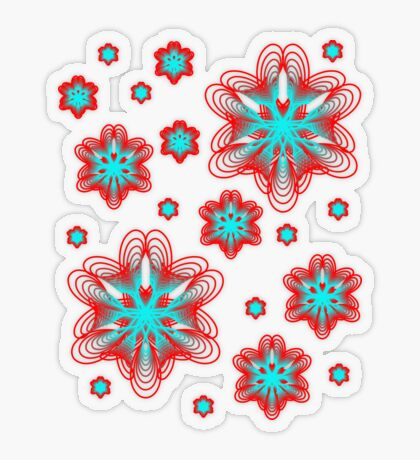 Spirographs with red and blue pattern Transparent Sticker