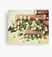 Spring Amongst the Woodpile Canvas Print
