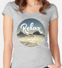 Relax Hipster Beach Typography Tumblr Boho Photo Women's Fitted Scoop T-Shirt