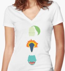 Minimalist Johto Trio Women's Fitted V-Neck T-Shirt