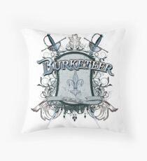 Official Burketeer Logo Badge Blue Throw Pillow