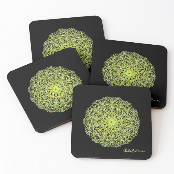 Yellow Healing Mandala 6001 Coasters (Set of 4)