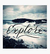 Explore Beach Wave Ocean Typography Photo Photographic Print