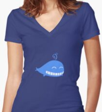 Cute Smiling Whale Women's Fitted V-Neck T-Shirt