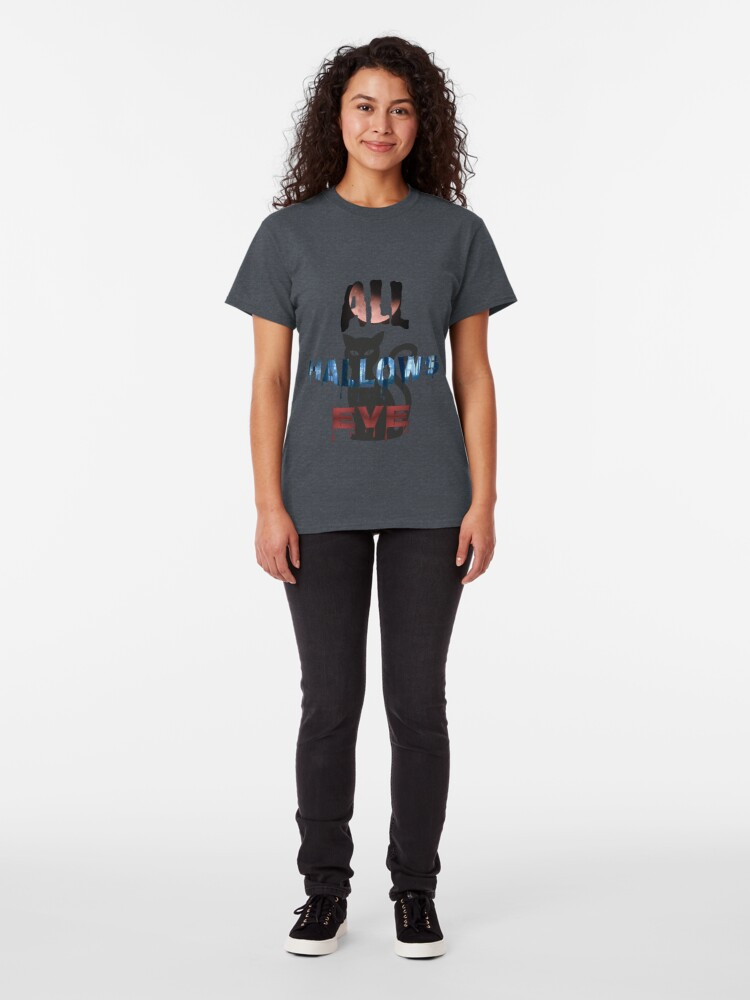 Alternate view of All Hallows Eve Halloween Cat Classic T-Shirt