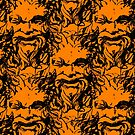 Orange vintage grotesque pattern by CraftyArts
