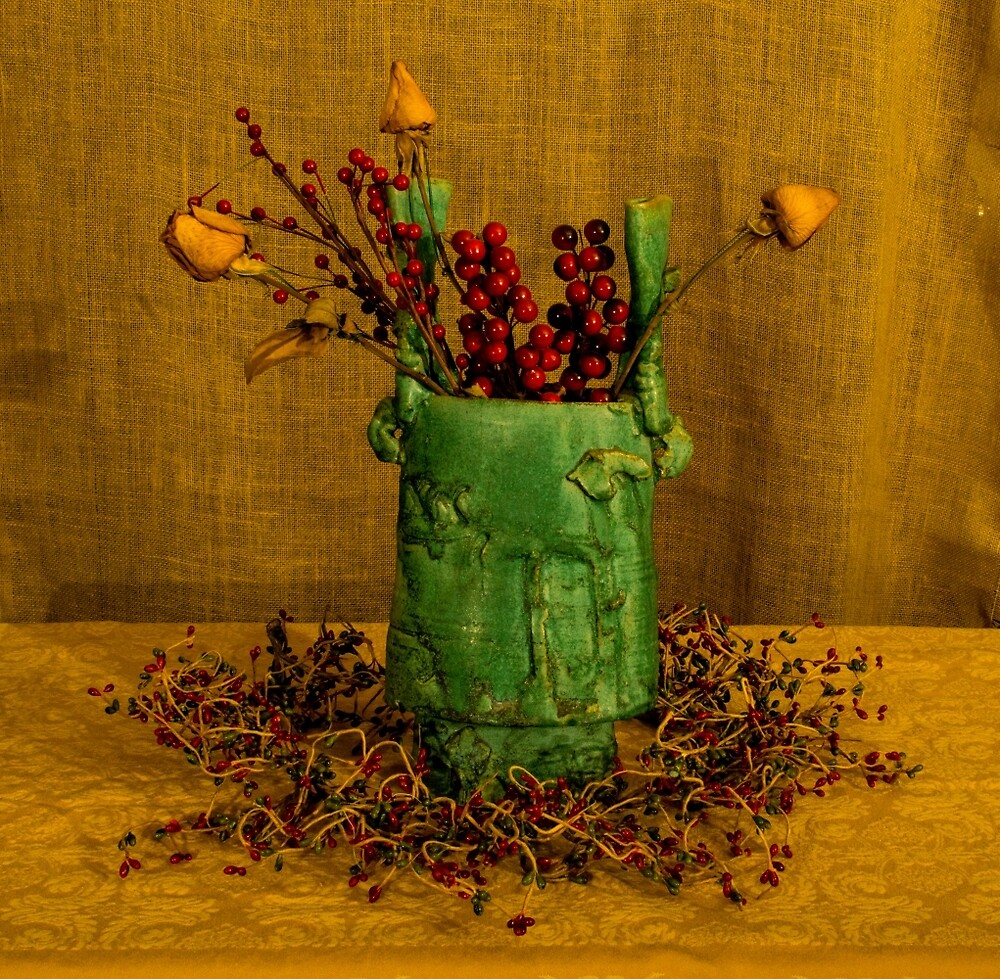 Vase with dried flowers by vancer
