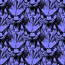 Blue vintage grotesque pattern by CraftyArts