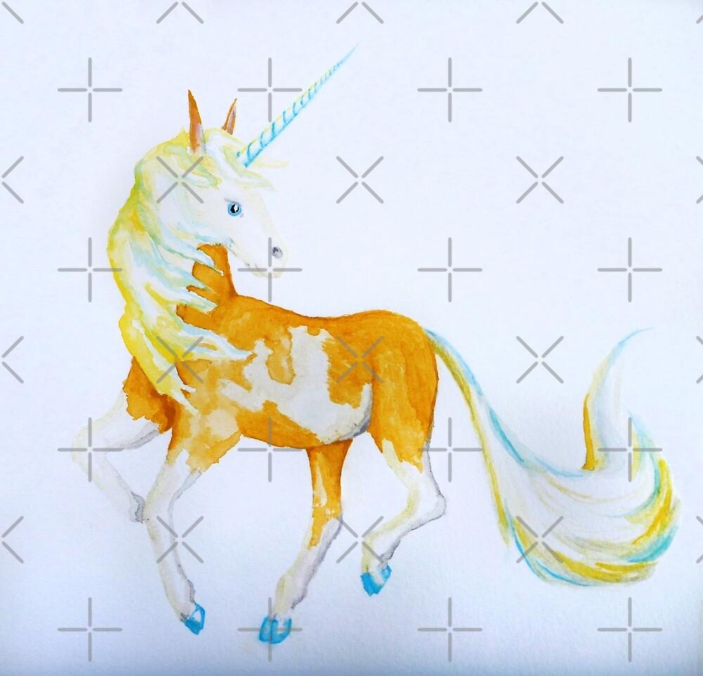 Pinto Palomino Unicorn  with Blue  by jessiecally