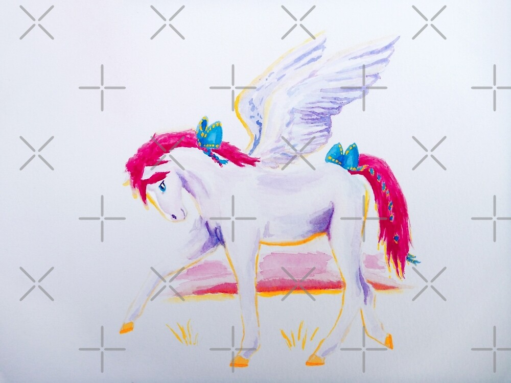 Pink Mane Pegasus with Blue Ribbons at Sunset by jessiecally