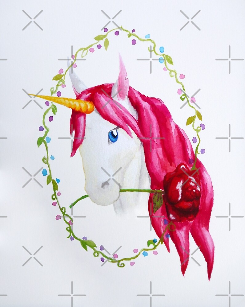 Pink Mane Unicorn with Rose by jessiecally