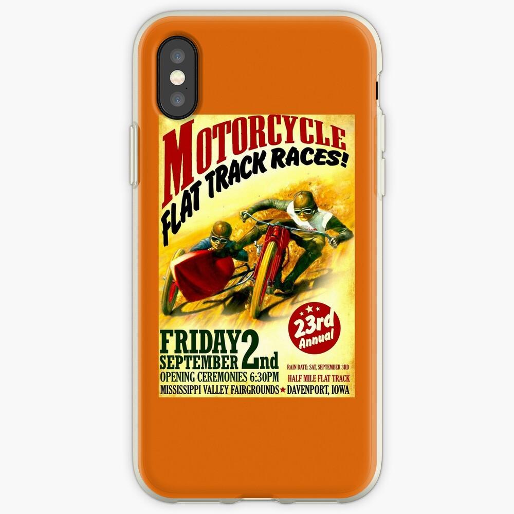 """""""MOTORCYCLE FLACHSTRECKE"""" Vintage Racing Print iPhone-Hülle & Cover"""