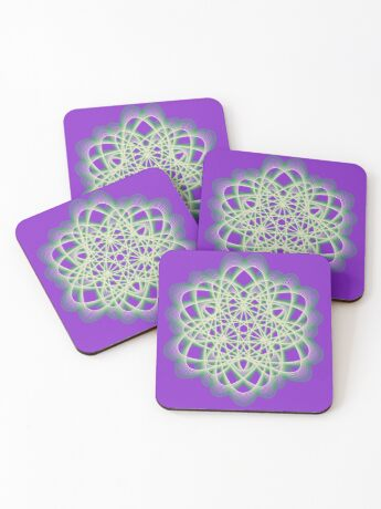 Abstract Sea Green Spiral Lines Coasters