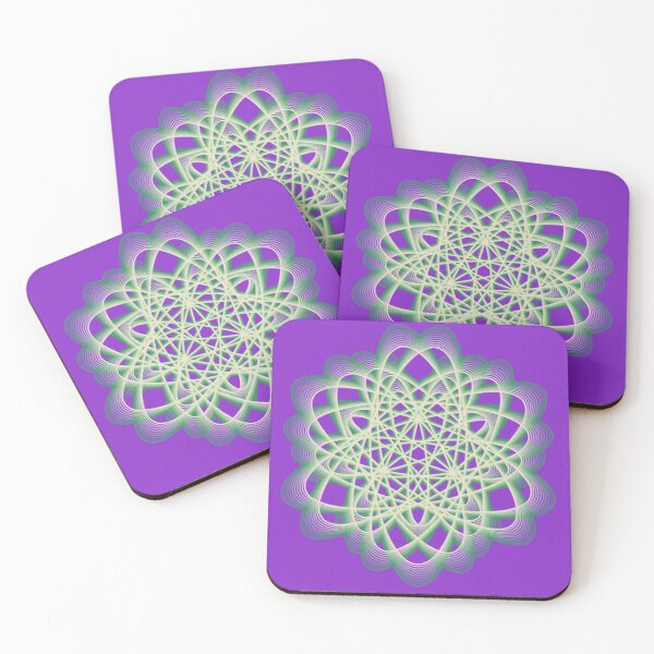 Abstract Sea Green Spiral Lines Coasters (Set of 4)