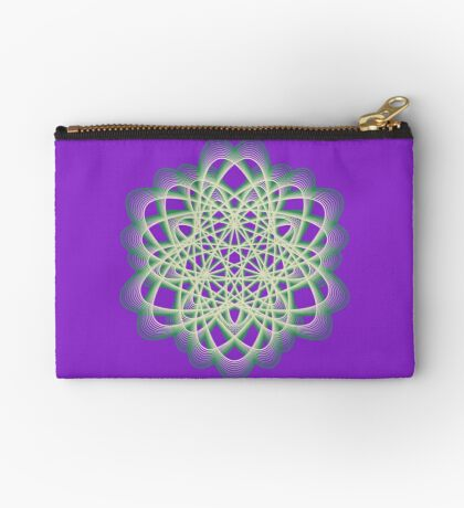 Abstract Sea Green Spiral Lines Zipper Pouch