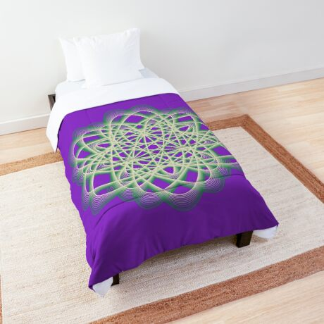 Abstract Sea Green Spiral Lines Comforter