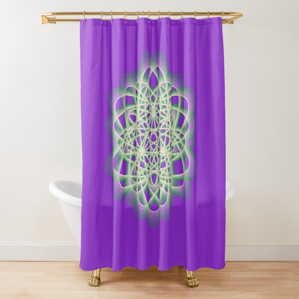 Abstract Sea Green Spiral Lines Shower Curtain