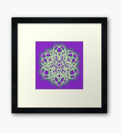 Abstract Sea Green Spiral Lines Framed Print