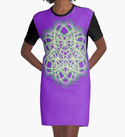 Abstract Sea Green Spiral Lines Graphic T-Shirt Dress