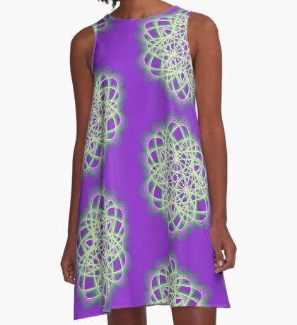Abstract Sea Green Spiral Lines A-Line Dress