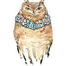 Watercolor Glamour Owl Wearing diamonds by Magdalena Żołnierowicz
