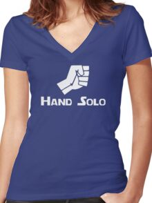 Hand Solo Type Parody Women's Fitted V-Neck T-Shirt