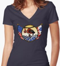 Flags Series - US Coast Guard HH-65 Swimmer Hoist Fitted V-Neck T-Shirt