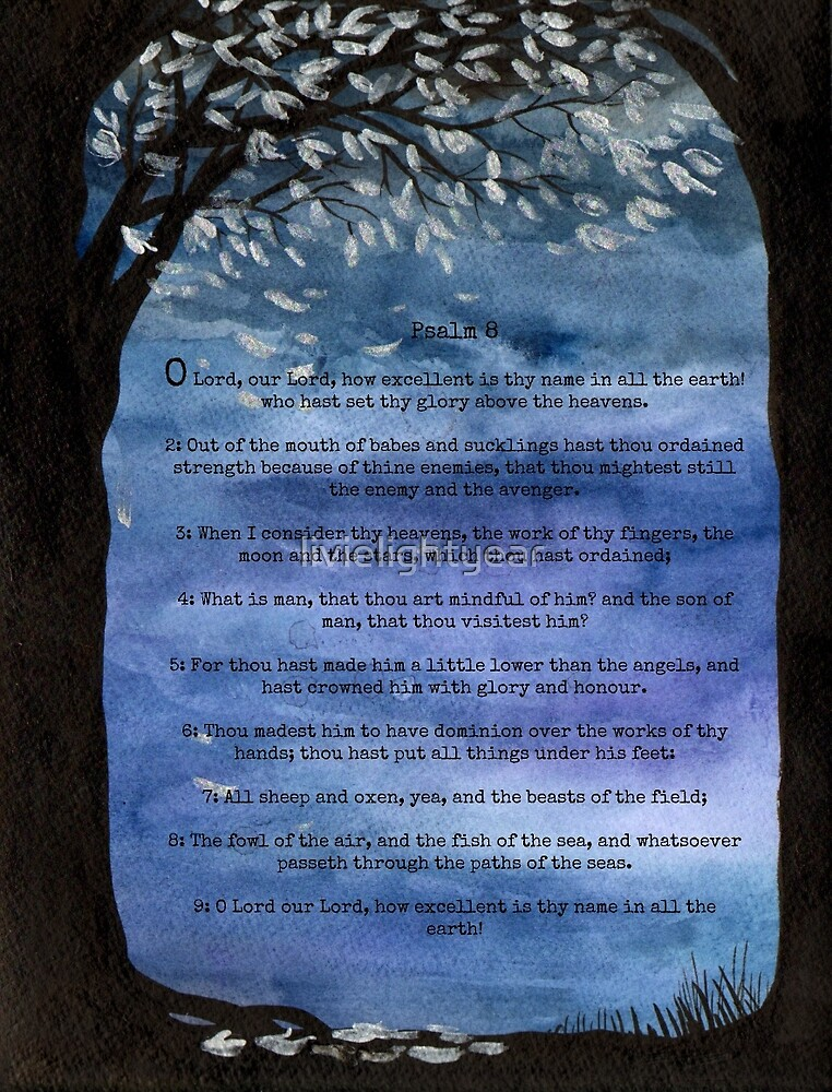 Blue sky, Tree watercolor painting Psalm 8 Bible verse/passage by livielightyear