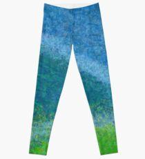 Dandelions in the Mower digital abstract painting Leggings