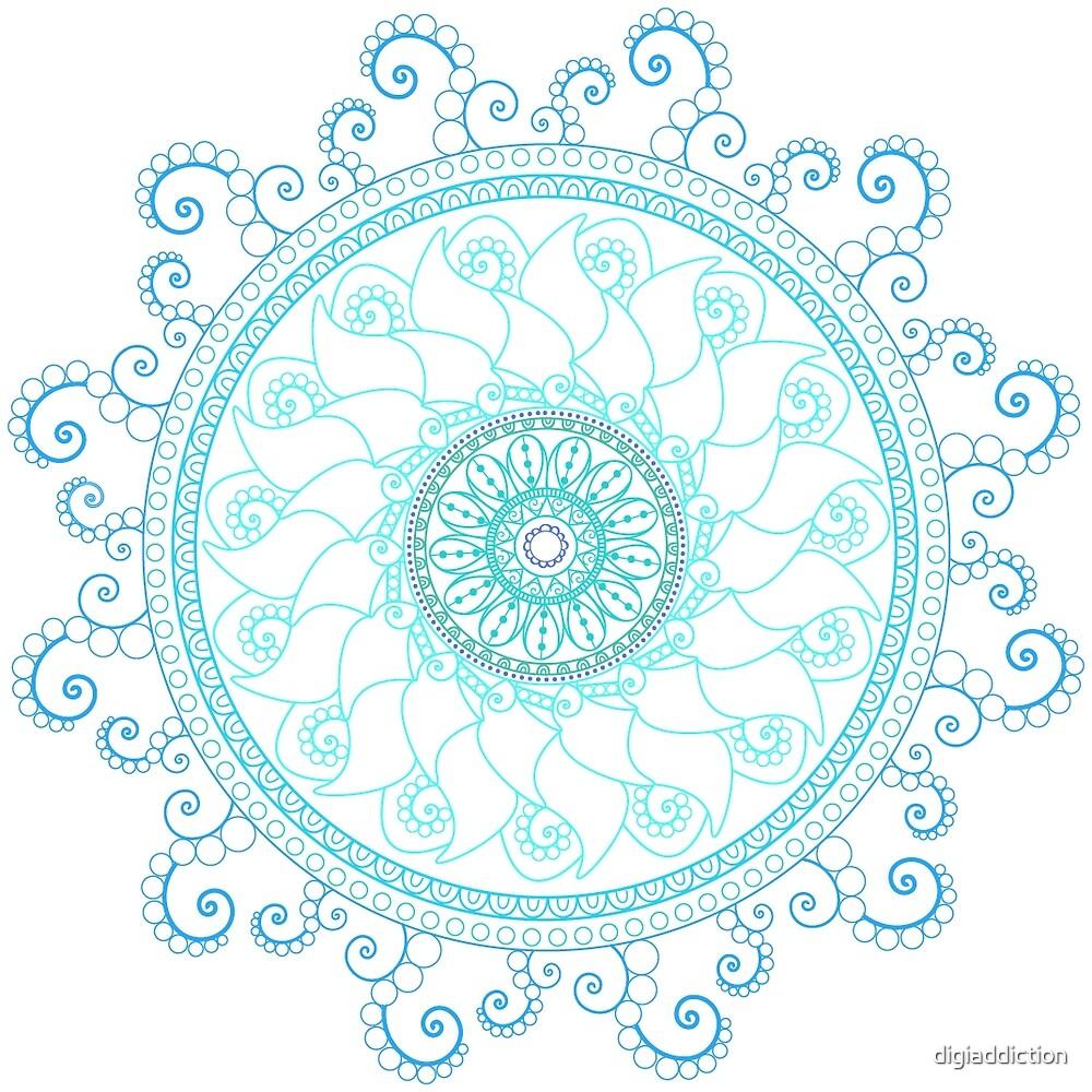 Mandala Doodle Tangle Blues Turquoise by digiaddiction